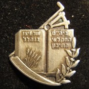 Palestine/Israel: WIZO Agricultural High School of Nahalal pin, circa. 1940's-50's; not maker-marked; size: 21 x 25mm; weight: 2.15g. Safety-pin reverse. The school was founded in