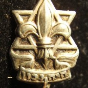 Israel: Israeli Boy Scouts 8th grade completion pin, circa. 1950s; not maker-marked; size: 10.5 x 16mm; weight: 0.7g. The pin depicts the emblem of the Israeli Boy Scouts, with Heb