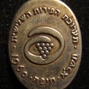 Israel: Participation pin of the 3rd Fruit Festival in Haifa, 1960, with emblem of the event (stylized Hebrew letter