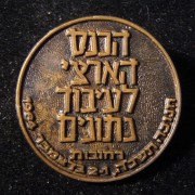 Israel: Bronze participants pin of the 1964 National Convention of Data Processing held in Rechovot, during the Chanukka holiday 1-2 Dec.; maker-marked Kretchmer; size: 25mm; weigh