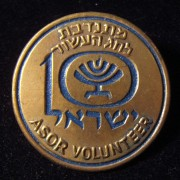 Israeli 10th Anniversary organizing committee volunteer's pin in metal and paint, 1958; size: 30.25mm; weight: 3.6g.