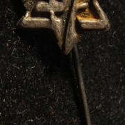Palestine/Yishuv(?): emblem pin of the Maccabi sports association, circa. 1920s; not maker-marked; size: 13.5 x 31mm; weight: 0.75g.