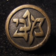 Palestine/Yishuv(?): emblem pin of the Maccabi sports association with screw-back, circa. 1930s; not maker-marked; size: 16mm; weight: 2.5g.