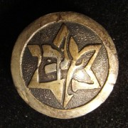 Palestine/Yishuv(?): emblem pin of the Maccabi sports association with fastener on back, circa. 1930s; not maker-marked; size: 19.5mm; weight: 3.4g.