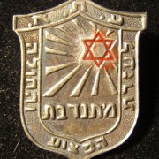 Palestine/Yishuv - TLV municipal first-aid service female volunteer's hat badge, circa. 1930s-40s; not maker-marked; size: 22.5 x 28.5mm; weight: 3.15g: red Star of David emiting r