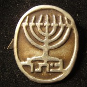 Israel(?): member's emblem badge of the Betar revisionist-Zionist organization, circa. 1950's; size: 23.75 x 28.5mm; weight: 2.1g.