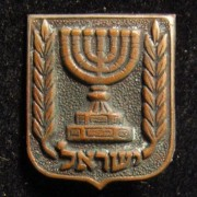 Bronze colored pin of the Israeli State coat of arms, circa. 1950's; size: 14x16.5mm; weight: 1.1g. Design by the Shamir Brothers, adopted in 1949.