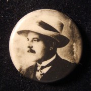 Palestine(?): Chaim Nachman Bialik celluloid pin, c. 1920s; not maker-marked size: 22.5mm; weight: 1.5g.