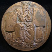 France: medal of Moses by Roger Henri Courroy (1912-2011), 1971; in copper-finished bronze; size: 7.15cm; weight: 222.55g. Obverse depicts Moses sitting, with each of two Tables of
