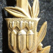 Early IDF air defence pin in gold finish, circa. early 1950's; size: 11x29mm; weight: 1.2g. Design based on that of the pre-State