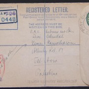 Jewish Brigade mail: 1939/44 British Army 3d KGVI registration envelope (Ba BF.02 A2) ex FPO 726 (Italy) to credit institution in TEL AVIV, 12 FE 45 and handled via BAPO 4 (Cairo),