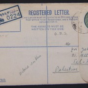 Jewish Brigade mail: 1939/44 British Army 3d KGVI registration envelope (Ba BF.02 A2) ex FPO 797 (Treviso, Italy) to civilian (at address of a credit institute) in TEL AVIV, 26 JY(