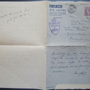 Jewish Brigade mail: army airmail air letter franked 3d ex FPO 726 (Italy) to JERUSALEM, 24 FE 45; with machine cancellation on back and two censor cachets (base and Cairo?); text