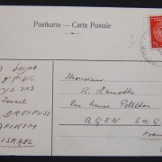 1949 2nd period surface mail: 21-3-1949 pc ex AFIKIM to FRANCE franked 15pr at SU-2 period rate using 15pr DI Ba4.