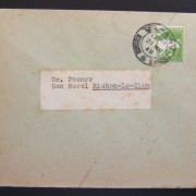 1948 Mandatory printed matter mail: 21 MR 48 comm cv ex TLV to RLZ franked 3m per period pm rate using vertical ribbed Pictoral Ba 91 tied by local pmk Sacher B60; back-flap unseal
