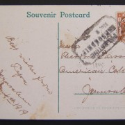 OETA-EEF mail: color ppc of Jaffa port (Vester & Co., Jer.) addressed locally to American Colony Hotel, franked 3m (Ba 7) per period inland PC rate and postmarked 5 JA 19 using sca