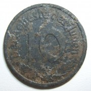 Poland: Litzmannstadt (Lodz Ghetto) 10 Pfennig 1942 Type-1 coin in magnesium; size: 21.25mm; weight: 0.95g. Coin coated w/ oxidation & few corrosion dots. Obv.: good detail where n