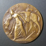 Germany: Twenty Years Since Bismarck's Death, 1918, medal by Karl Goetz; high quality bronze cast (no rim marks); size: 58mm; weight: 66.25g. Obv.: Bismark's head to right, surroun