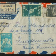 1950 1st airmail / PO's, rates & routes: 30-7-1950 Israeli airmail stationary registered cover ex YOKNEAM to GUATEMALA franked 115pr at the FA-2a period rate (90pr letter + 25pr re