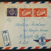 1950 1st airmail / PO's, rates & routes: 23-10-1951 couriered(?) registered airmail stationary cover ex NAHARIYA (return addressed Kibbutz Maagan via Emek HaYarden PO) to NEW JERSE