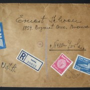 1950 1st airmail / PO's, rates & routes: 3-4-51 registered airmail cover ex HAIFA to NYC franked 265pr at the FA-2a period rate (80pr letter + 25pr registration + 4x 40pr R-letter
