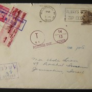 1969 incoming US taxed mail: 3 JUL 1969 surface mailed cover ex MILWAUKEE to JERUSALEM underfranked at $0.06 and taxed 0.32L in Israel using 0.30L 1969 Ports Ba419 + 0.02L 1965/67