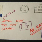 1969 incoming US taxed mail: APR 25(?) 1969 airmail cover ex LOS ANGELES to TLV underfranked at $0.20 and taxed 0.25L in Israel, paid 29-4-69 using 1965/67 1st Town Emblems Ba309 f