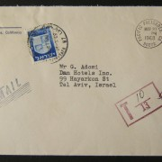 1968 incoming US taxed mail: MAR 20 1968 business stationary airmail commercial cover ex CALIFORNIA to TLV underfranked at $0.20 and taxed 0.25L in Israel, paid 28-3-68 using 1965/