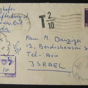 1966 incoming Canadian taxed mail: AUG 9 1966 surface mailed greeting card sized cover ex ONTARIO to TLV underfranked at $0.03 and taxed 0.10L in Israel, paid 28-9-66 using 1965/67