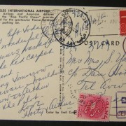 1964 incoming US taxed mail: 11 NOV 1964 airmail ppc LA Airport ex LOS ANGELES to TLV underfranked at $0.08 and taxed 0.18L in Israel, paid 16-10-64 using 1961 Zodiac Ba211 frank t