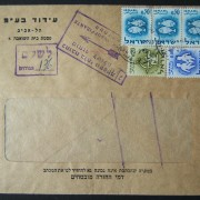 1965 domestic 'top of the pile' taxed franking: Feb. 1965 printed matter commercial cover ex TLV branch of Idud Ltd. franked by machine prepayment at the DO-11 period 8 Ag PM rate