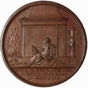 Great Britain: Mary I medal in bronze, 1731; by J. Dassier; size: 41mm. Bust 3/4 to rigt/Religion seated before a monument; to right a column decorated with a medallion of a pope;