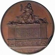 Great Britain: James II bronze medal, 1731; by J. Dassier; size: 41mm. Bust left/ Mourning Religion seated on tomb, various implements of Catholicism on tomb. Eimer-384, Mi i, 215/