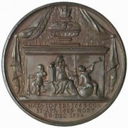 Great Britain: Mary II medal in bronze, 1731; by J. Dassier; 41mm. Draped bust right/Tomb beneath a canopy, Religion seated with an infant on each side. Eimer-364, Mi, i, 123/364.
