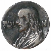 Germany(?): Jesus pilgrim's cast brass token, c. 17th-18th century; size: 36mm; weight: 28.36g. Bust of Jesus left/5 line Hebrew legend. Ref: Hill's Medallic Portraits of Christ &