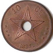 Belgian Congo 10 Centimes, 1887; 1st year of type. Y-4, KM-4. Choice UNC.