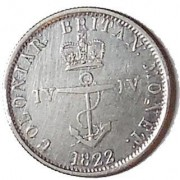 British West Indies: 1/4 Dollar Anchor Money, 1822. Crowned anchor/Arms. Both the 8 and the first 2 in date seem to be recut/struck for use in both the West Indies and Mauritius. A