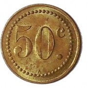 Cameroon: 50 Centimes Societe Nationale token in brass, (1919-1945). Rare token issue. A similar one sold in 2005 Maison Palumbo sale for $515 + buyer's fee. KM-Tn3, G-3, Lec-25. C